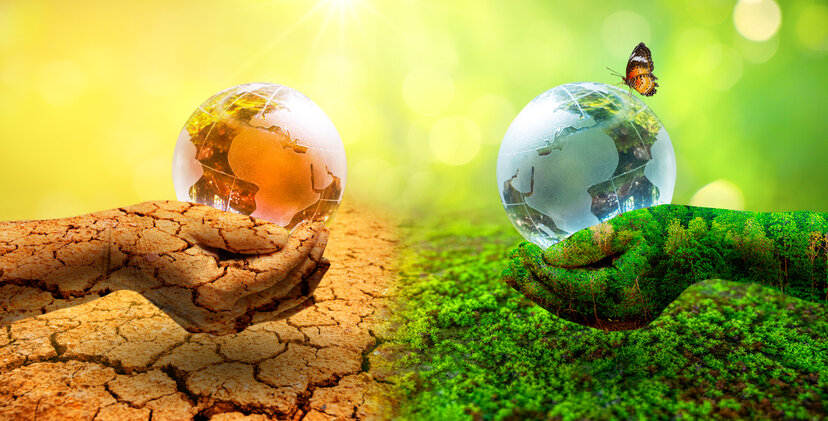 Two orb hands with very different environments Earth Day or World Environment Day Global Warming and Pollution